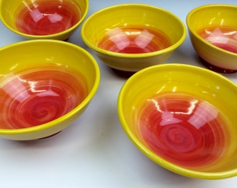 Yellow Sunburst Cereal Bowl