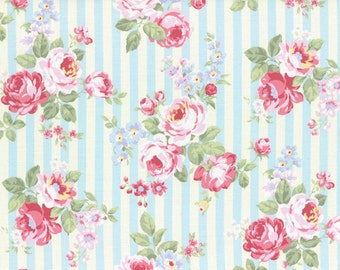 Princess Rose Fabric by Lecien - Stripes and Roses L31264-70 Blue