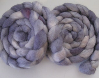 Lilac Dreams- Wensleydale Wool Roving (Top) - Handpainted Spinning or Felting Fiber - 4 ounces