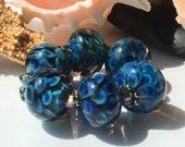 Ocean Blooms Encasement Florals Handmade Lampwork Glass Beads SRA
