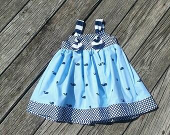 Girls Whale Dress - Girls Spring Dress - Whales - Sundress -  Nautical Dress -Beach Dress - Birthday Dress - Groovy Gurlz