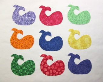 Set of 9 Iron-on Bright Whale Fish Cotton Fabric Appliques for Quilts Apparel Etc.