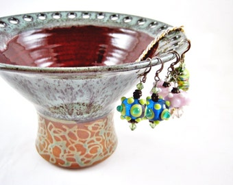 Earring holder, Earring vase, Earring organizer, Jewelry Bowl, Jewelry holder by Ning's Pottery - In stock