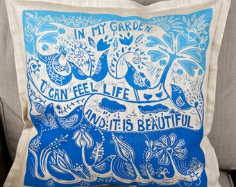 Mothers day gift, cushion cover, Life is beautiful, garden, blue and white, decorative pillow, linocut, landscape,  blue, turquoise,