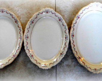 Antique Set of 3 Oval Serving Platter - Dessert Platters in Gold Gilt Trim - Bone China in Ivory - French Shabby Chic Pink Light Blue Floral