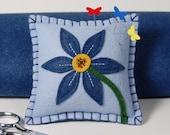 Wool Felt Pin Cushion • Pin Pillow • Denim Blue & Gold Beaded flower