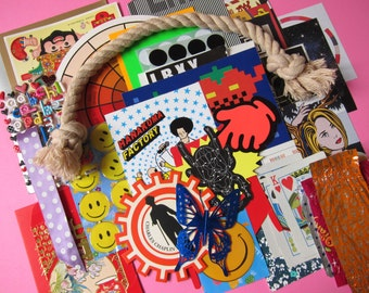 Smiley Awesome Fab (1 set of collage stack / scrapbooking / craft supplies)