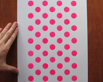 Pink Polka minimal stencil poster (A4)