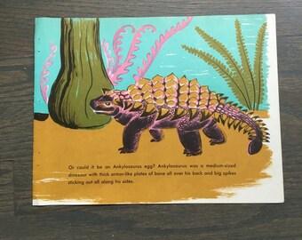 Mid Century Dinosaur Print Vintage Children's Book Page Ankylosaurus Illustration Dahlov Ipcar