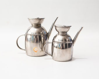 Set of Two Vintage Inox 18-10 Stainless Steel Tea Pots Coffee Pots Creamer Watering cans