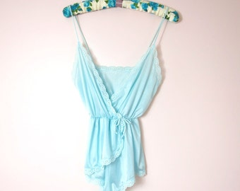 1970s Pale Blue Nylon Teddy XS/S