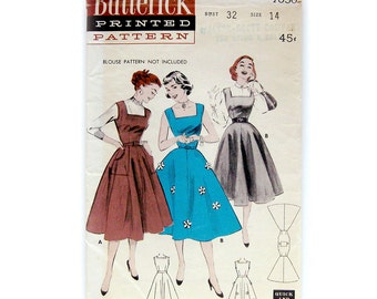 1950s Vintage Sewing Pattern / Misses Square Neck Jumper with Flared Skirt / Butterick 7050 / Size 14 Bust 32