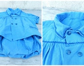 Reserverd to LV Vintage 1950/50s French blue cotton assorted shirt & rompers size 2 years