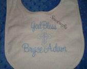 Bryce Adam Personalized Baptism Bib christening bib  - Choice of Name or upto 3 Initials