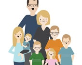 Your Custom Family illustrated art print DIGITAL FILE