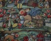 Easter Fabric, Bunny Print Fabric, Easter Runner Fabric, Holiday Napkin Fabric, Holiday Scene Fabric, Rabbit Fabric, Seasonal Fabric