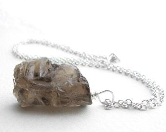 Smoky Quartz Necklace, Rough Gemstone Pendant, November Birthstone Jewelry