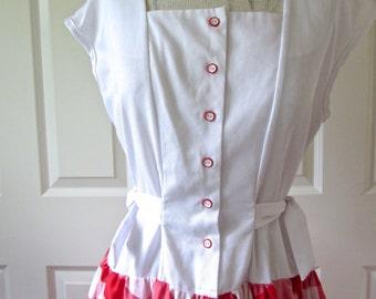 EJM Petite Vintage 1970s Red White Gingham Summer Dress - Perfect Retro Fun