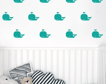 Whales pattern wall decal