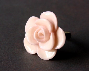 Pale Pink Rose Bloom Adjustable Ring - Pink Flower Ring - Pink Rose Ring - Adjustable Ring - Gardener Gift - Flower Jewelry - Rose Ring