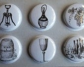 Wine Lovers Flair Buttons-You CHOOSE STYLE and COLOR