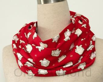 Red infinity scarf.Christmas scarf.Polar bear scarf.