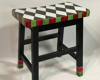 Whimsical Painted Furniture, Painted saddle Bar Stool, Painted Bar Stool // Harlequin Painted Bar Stool