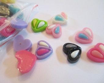 35 Resin Heart Flat Back Buttons Scrapbooking Craft Supplies