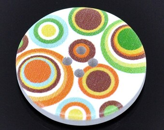5 Painted Circle Wooden Buttons
