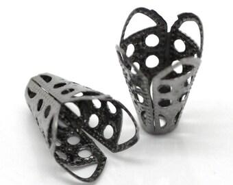 25 Gunmetal Filigree Spacer Beads