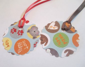 10 Handmade Round Puppy Love Dog Gift Hang Tags