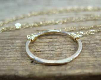 Circle Necklace 14k Gold Filled with Gold - Minimal Necklace, Delicate Necklace, Layering Necklace, Long Necklace, Short Necklac