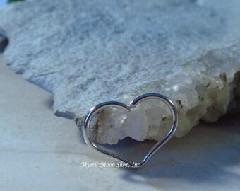Heart Hoop SINGLE Silver Large - Piercing Hoop, Heart Earring, Heart Piercing, Silver Heart Earring, 20 Gauge Heart, 18 Gauge Heart