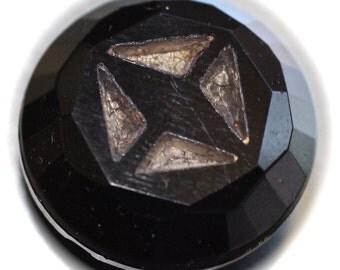 Button ~ Black Glass Precision Inlay Vintage  - Small