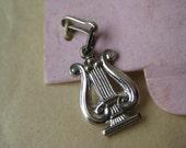 Lyre Harp Sterling Charm Silver Vintage 925