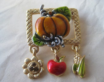 Pumpkin Orange Gold Brooch Pin Corn Apple Flower Gold Vintage AJMC
