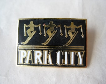 Park City Pin Black White Gold Skier Ski Brooch Enamel Vintage
