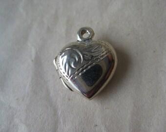 Heart Locket Sterling Charm Vintage 925 Silver