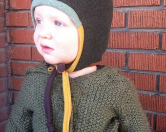 Pure Wool Hat - Custom Colour - Size Newborn to 3T - Pixie Elfin Wool Baby Bonnet
