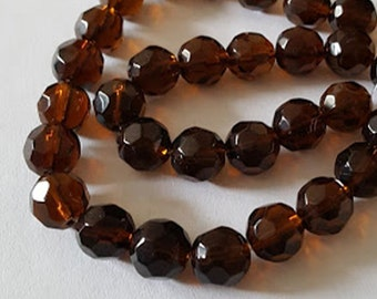 20pcs - 8mm Faceted Dark Brown Topaz round Glass beads