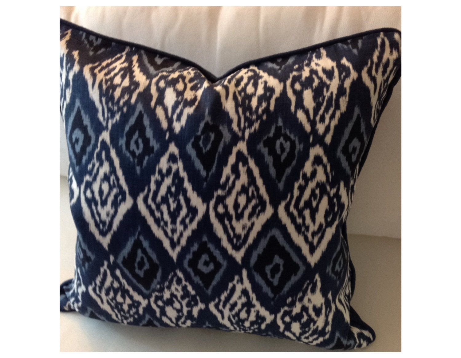 Ikat navy blue pillow cover sofa pillow by Seasonalsolutions
