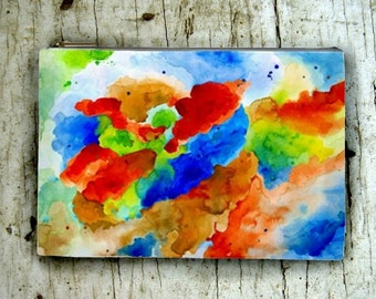 Cosmetic Bag Pouch Accessory for Purse Abstract 15 red blue green brown Watercolor art by Lucie Dumas