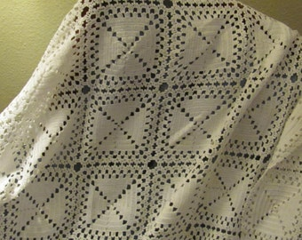 White Crochet Table Cloth or Baby Chic Blanket