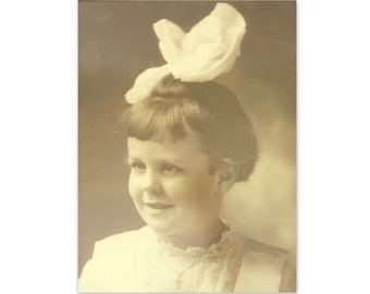 Vintage Little Girl Sepia Photograph - Instant Ancestor