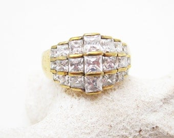 Vintage Wide Rhinestone Sterling Ring Size 9 Jewelry R7093