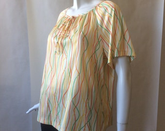 1970's streamers print blouse, soft cut, in butter yellow, red, orange, green, and deep yellow, plus size / 16W - 20W