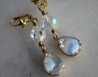 Pale Blue Crystal Dangles, Crystal Earrings, Crystal Tear Drops, Wedding, Feminine, Romantic, Vintage Iridescent Crystals