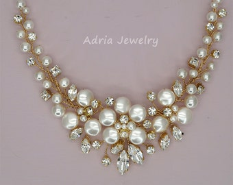 Gold Wedding Necklace Crystal Bridal Necklace Bib Necklace Swarovski Crystals Rhinestones Ivory Pearls Statement Jewelry for Brides