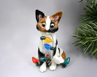 Cat Calico Christmas Ornament Figurine Lights Porcelain