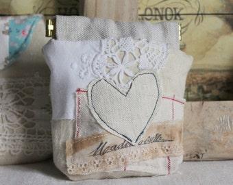 Coin purse heart antique linen vintage trims